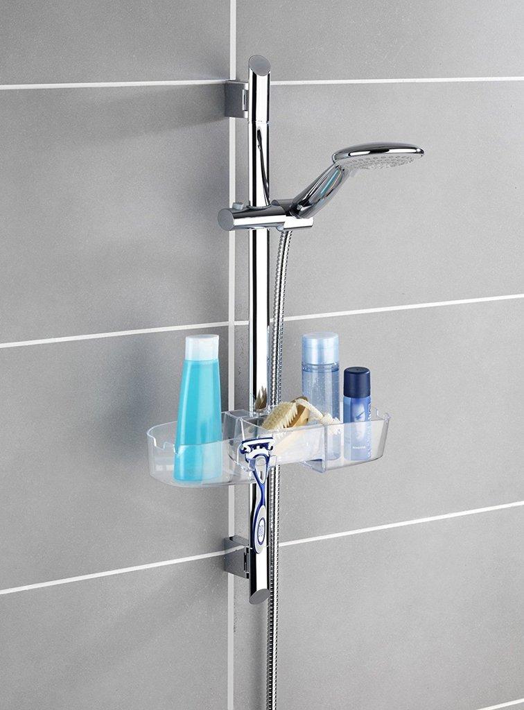 Wenko mensola per asta doccia con 3 portasaponi e 2 ganci - Porta bagnoschiuma doccia ...